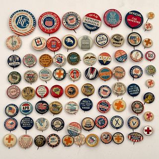 80 Antique WWI Patriotic Red Cross War Chest Buttons
