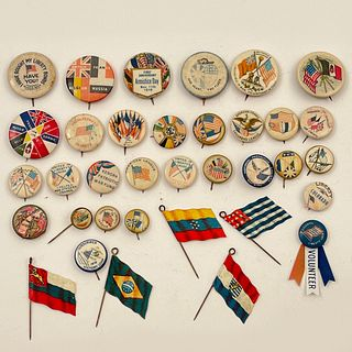 45 Antique WWI Allied Flags Buttons Ribbons