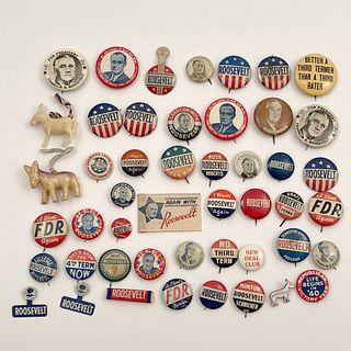 Vintage Group of FDR Franklin Roosevelt Campaign Buttons
