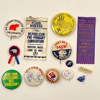 Large Lot of Vintage GOP Campaign Buttons