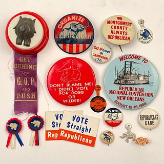 Large Group of Vintage Vote GOP Republican Buttons