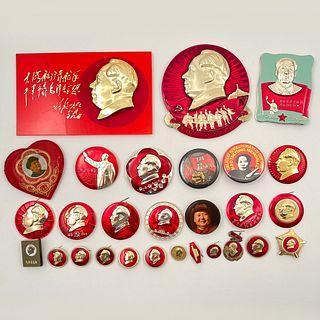 Vintage China Mao Tse Tung Mao Zedong Buttons Pins