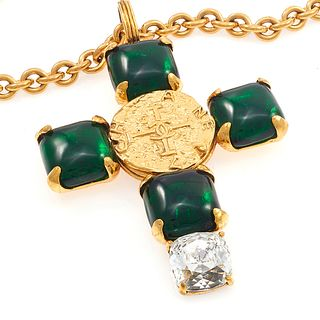 Chanel Pate De Verre Glass, Cross Necklace