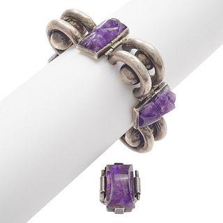Fred Davis Amethyst Sterling Ring with Modernist Bracelet