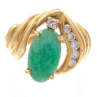 Jadeite, Diamond, 18k Yellow Gold Ring