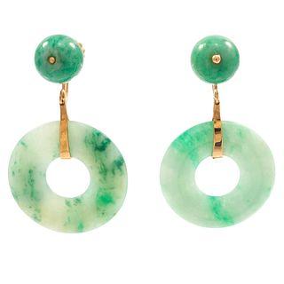 Pair of Jadeite, 14k Yellow Gold Earrings