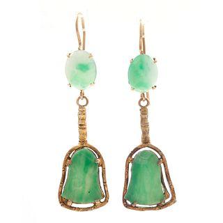 Pair of Jadeite, 14k Yellow Gold Jade Earrings