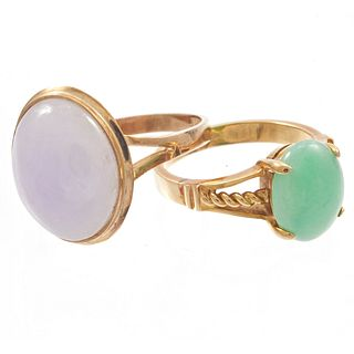 Two Jade, 14k Yellow Gold Rings