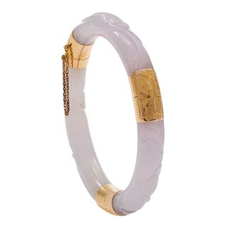 Carved Jade, 14k Yellow Gold Bangle Bracelet