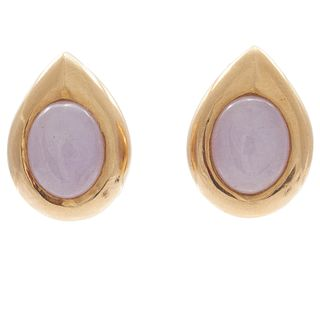 Pair of Gump's Jade, 14k Yellow Gold Ear Clips