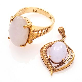 Jade, Diamond, 14k Yellow Gold Jewelry Suite
