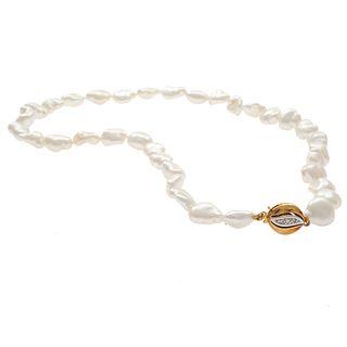 Baroque Cultured Pearl, Diamond, 14k Necklace