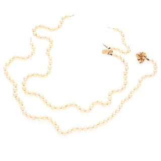 Cultured Pearl, 14k Rose Gold Necklace