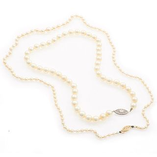 Two Cultured Pearl, 14k Necklaces
