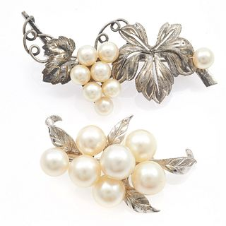 Collection of Two Cultured Pearl, Silver Grape Pins