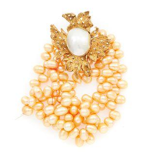 Diamond, Pearl, 10k Fur Clip and Bracelet
