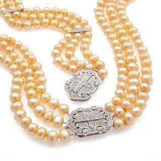 Diamond, Fresh Water Pearl, 14k Jewelry Suite