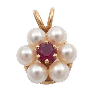 Tiffany & Co. Ruby, Pearl, 14k Pendant