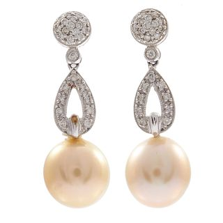 Pair of Cultured Pearl, Diamond, 18k Earrings
