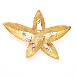 Edwin Pearl Diamond, 18k Yellow Gold Pin