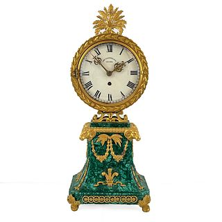 American Empire Style Malachite and Gilt Mantle Clock