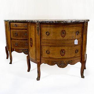 Louis XVI Style Demi-Lune Cabinets