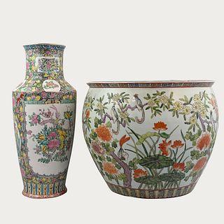Asian Decorative Ceramic Fish Bowl