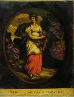 "Early English Eglomise, ""Flora Goddess of Flowers"""