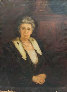 Boston School, Portrait Lady with Ermine Collar