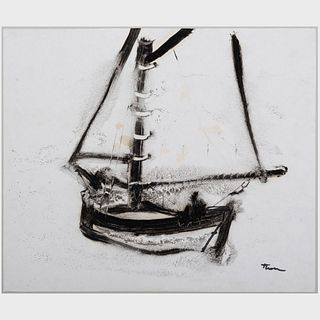 William Thon (1906-2000) : Catboat; and Wooden Boat