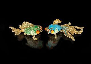 A Pair Of Chinese Enameled Gilt Silver Goldfishes
