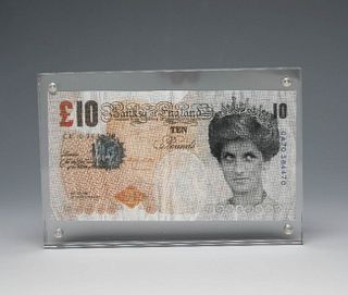 """BANKSY (Bristol, England, 1975). """"Difaced tenner (10 pound note)"""".2004. Offset lithography."""
