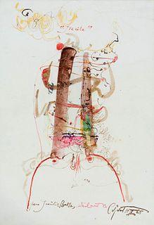 """MODEST CUIXART I TÀPIES (Barcelona, 1925 - Palafrugell, Girona, 2007). """"Petit poema per a Juanita de Batlle"""", February 1965. Mixed media on paper. Sig"""