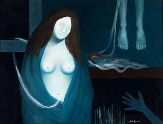"JOSEP URIBE ROBERT (Vic, 1945). ""Oníric"", 1972. Mixed media (oil and resin), on canvas."