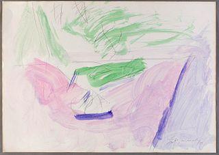 """ALBERT RÀFOLS CASAMADA (Barcelona, 1923-2009). """"Sota l'arbre"""". 1984. Son servera. Watercolor and pencil on paper."""