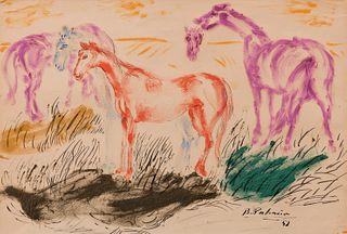 """BENJAMIN PALENCIA (Barrax, Albacete, 1894 - Madrid, 1980). """"Horses"""", 1952. Mixed media on paper."""
