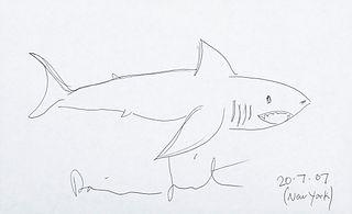 "DAMIEN HIRST (Bristol, United Kingdom, 1965). ""Shark,"" New York, 20.07.2007. Ink on paper."