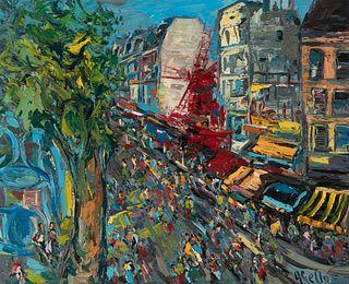 "JOAN ABELLÓ PRAT (Mollet del Vallés, Barcelona, 1922 - Barcelona, 2008). ""Moulin Rouge"", Paris, 1985. Acrylic on canvas."