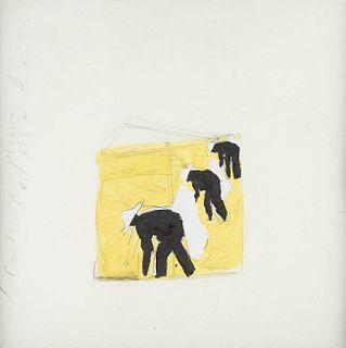 "DONALD SULTAN (Asheville, North Carolina , 1951). ""Cantaloupe Pickers (melon pickers),"" 1982. Watercolor and ink on paper."