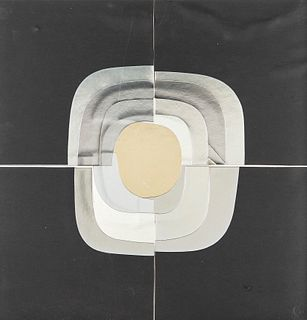 AMADEO GABINO (Valencia, 1922 - Madrid, 2004). Untitled. Collage on cardboard. Signed on the back.