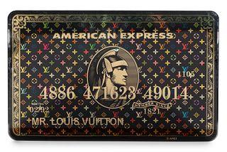 "DIEDERIK VAN APPLE (Leiden, Holland, 1985). ""Mr. Louis Vuitton, Gold Color Amex"". 2020. Mixed media on epoxy resin and aluminum, copy 5/10."