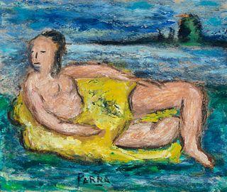 "GINÉS PARRA (Zurgena, Almería, 1896 - Paris, France, 1960). ""On the beach"". Oil on canvas. Signed in the lower margin."