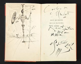 """SALVADOR DALÍ I DOMÈNECH (Figueres, Girona, 1904 - 1989). """"Don Quixote of La Mancha"""". Ink drawing on paper on page of """"Don Quixote"""", 1949. Signed and"""