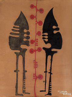 MOISÉS VILLÈLIA (Barcelona, 1928 - 1994). Untitled, Molló, 1978. Ink and watercolor on paper.