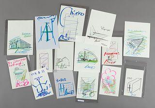 TADAO ANDO (Osaka, 1941). Untitled, 2015. Set of 15 mixed media drawings on paper.