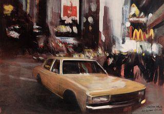 "JAVIER PÉREZ PRADA (León, 1963) ""Study for yellow car"", New York, 1997. Oil on paper. Glued to board."