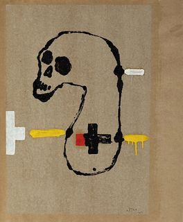 VICTOR MIRA (Zaragoza, 1949 - Munich, 2003). Untitled, 1983. Mixed media on paper adhered to semi-rigid cardboard.