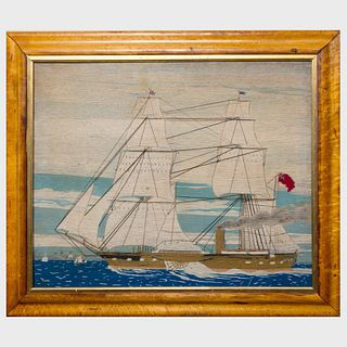 Large English Woolwork Picture of a Side-Wheel Paddleboat