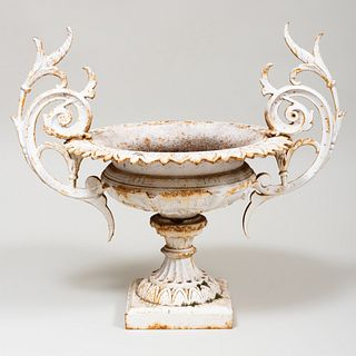 Fine White Painted Garden Urn, Stamped J.W. Fiske, Barclays, N.Y., No 21 & 23, PAT'D May 12, 1874