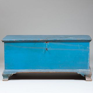 Chippendale Blue Painted Blanket Chest